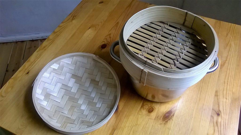 Vaporera de bambú
