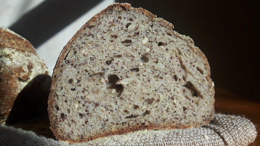 Miga del pan sin gluten multicereales
