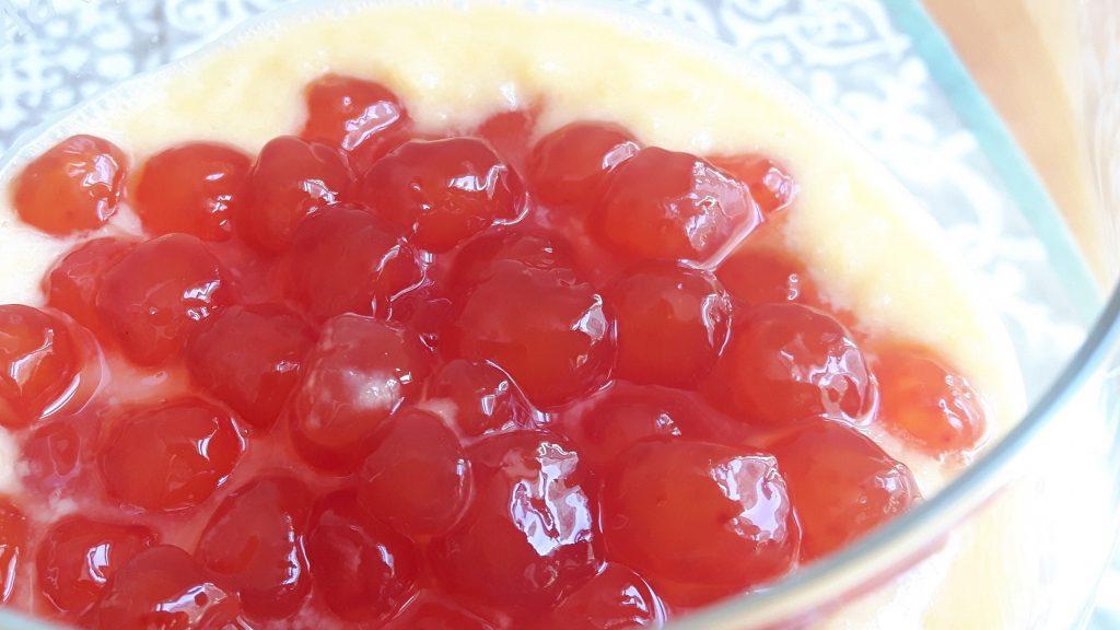 Perlas de tapioca con crema de mango