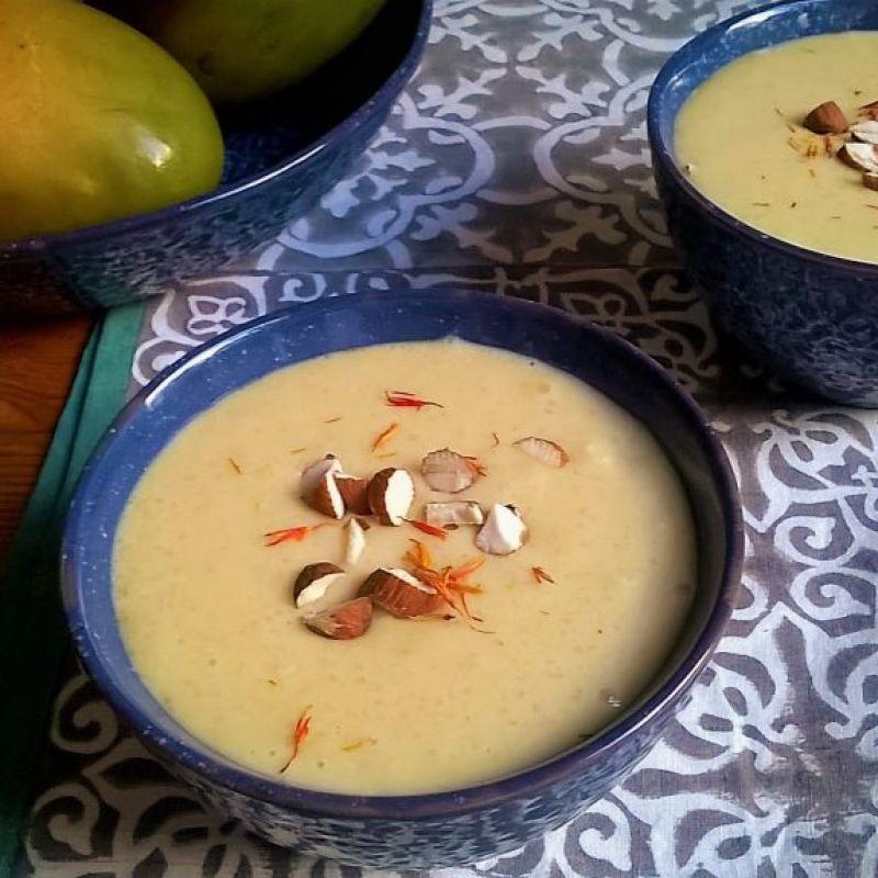 Pudding sin gluten de arroz basmati y mango